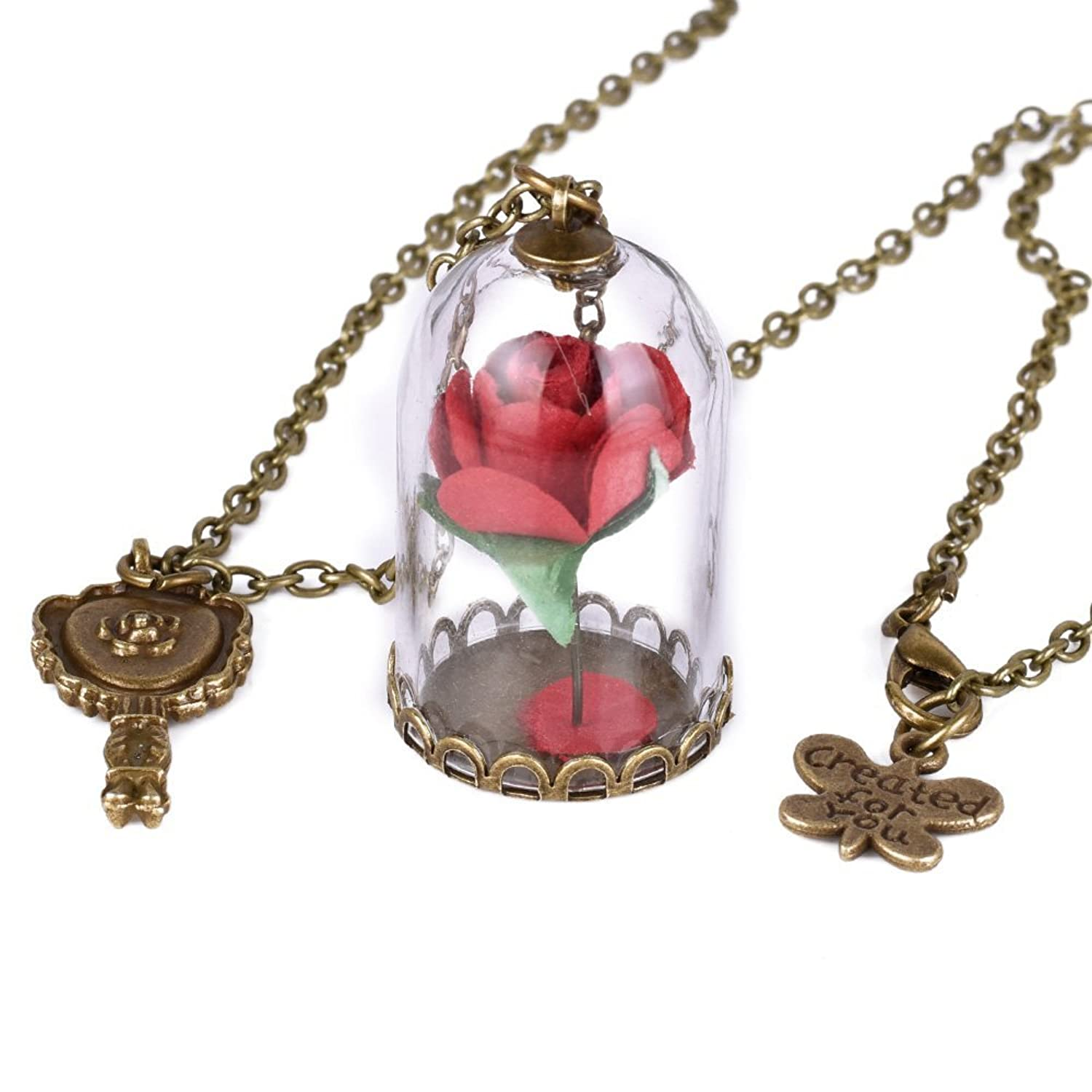 Womens Glass Dome Floral Flower Enchanted Rose Pendant Jewelry Set Necklace Bracelet