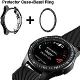 JZK ベゼルリング Samsung Galaxy Watch 46mm/42mm/Gear 3対応 ステンレススチール 保護粘着カバー 傷防止 46mm