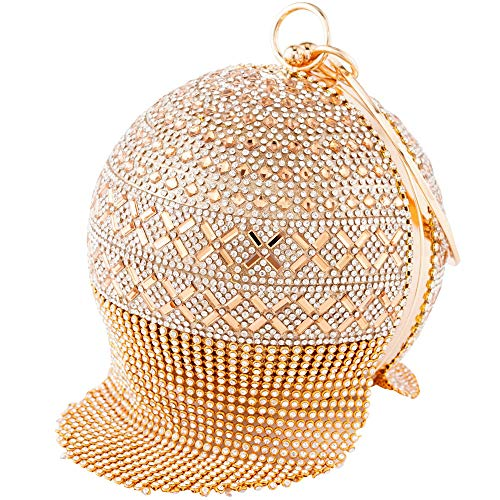 Womans Round Ball Clutch Handbag Dazzling Full Rhinestone Tassles Ring Handle Purse Evening Bag (E)