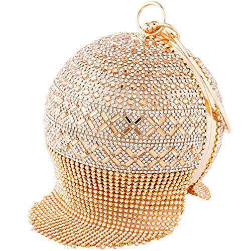 Womans Round Ball Clutch Handbag Dazzling Full Rhinestone Tassles Ring Handle Purse Evening Bag ()