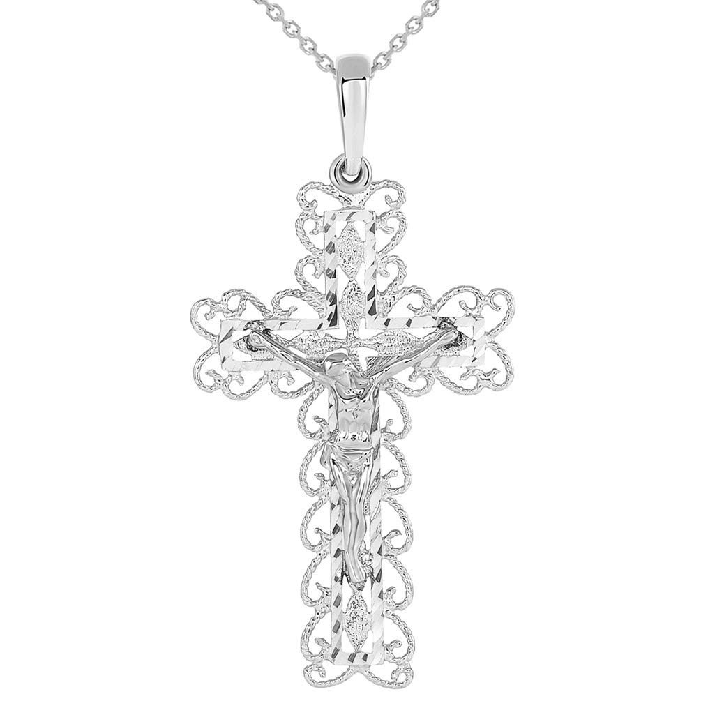 14k White Gold Fancy Filigree Religious Cross Jesus Crucifix Pendant Necklace, 22''