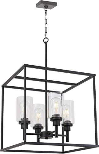 VINLUZ 4 Light Hanging Lantern Pendant Light Black Industrial Cage Dining Room Chandelier with Clear Glass Shade for Kitchen Foyer Entryway Dining Room