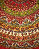 Indian Mandala Print Round Cotton Tablecloth 76'' Red