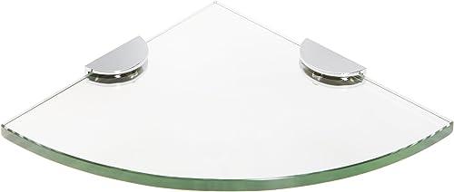 Spancraft Glass Quarter Round Glass Shower Shelf, Chrome Bracket, Half Round Clamp, 12