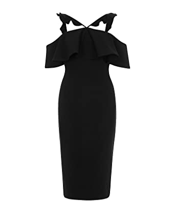 River Island Womens Black Frill Cross Neck Bodycon Midi Dress