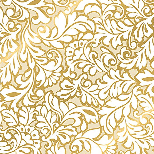 Metallic Gold Ivory White Damask Wedding Gift Wrap Paper - 24 Inches x 15 Feet Foot ()