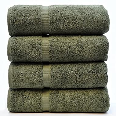 Luxury Hotel & Spa Towel Turkish Cotton (Bath Towel - Set of 4, Moss)