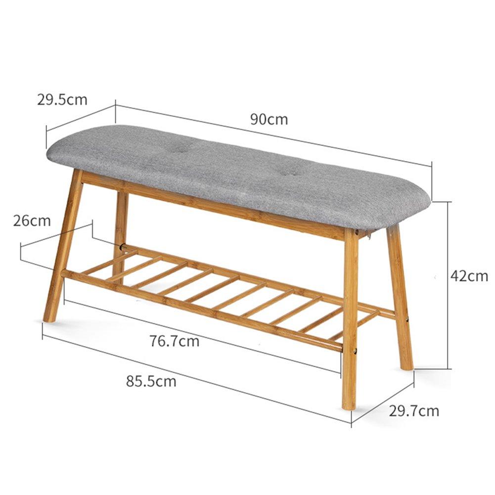 WENZHE シューズラック 靴箱靴のベンチソファスツール木製クッション付多機能ホームシンプル現代、2色、2サイズ シューズホルダー ( サイズ さいず : 90*29.7*42cm ) B07BFDNMVV90*29.7*42cm