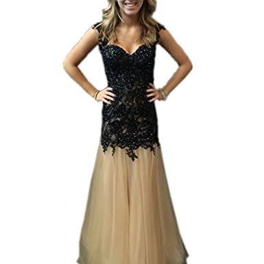 LeoGirl Womens Open Back Lace Long Mermaid Prom Dresses Sleeveless Formal Evening Gown (2,