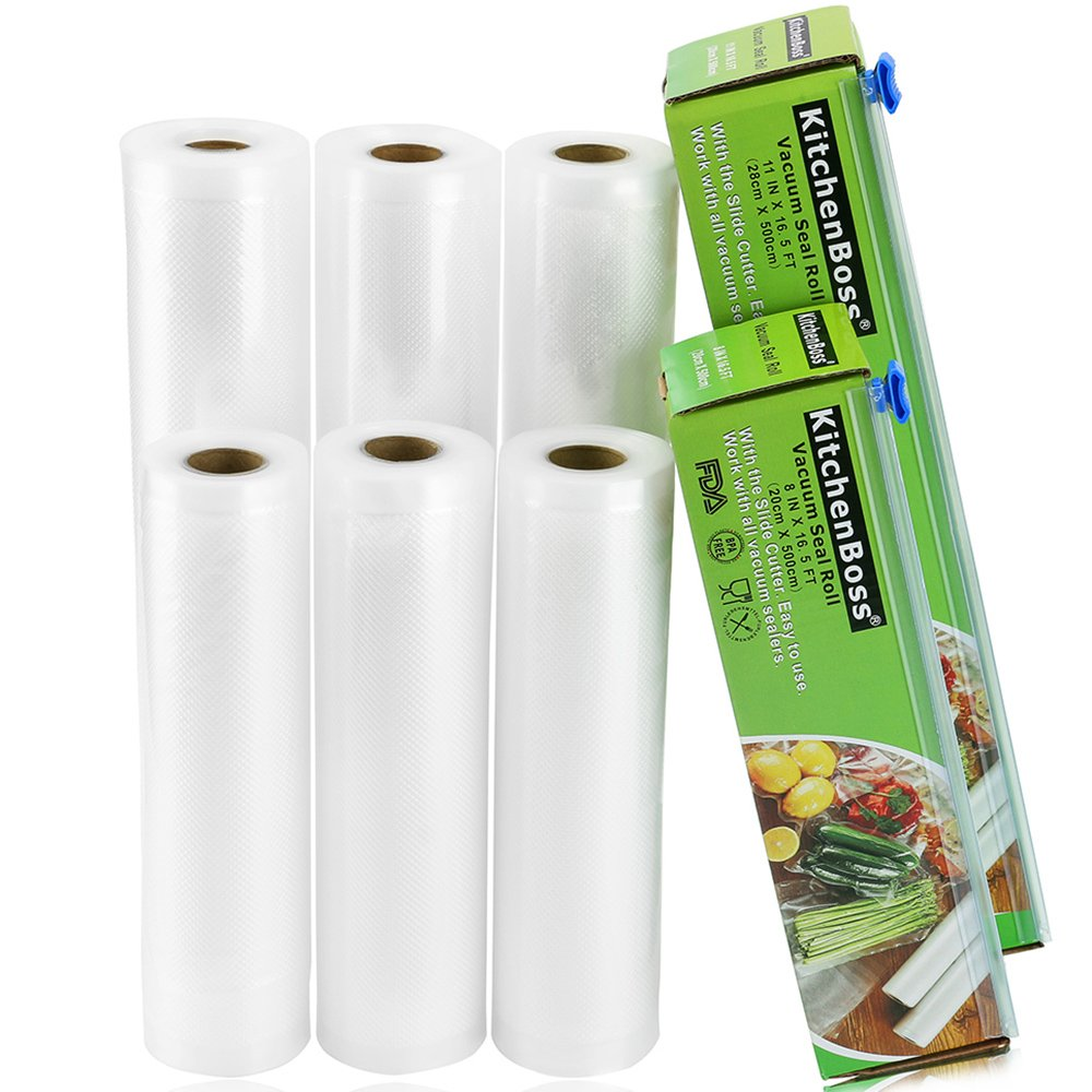 "KitchenBoss Vacuum Sealer Rolls 6 Pack 8""x16.5' and 11""x16.5' with Cutter Box Commercial Grade Bag Rolls for Food Saver and Sous Vide(total 100 feet)"