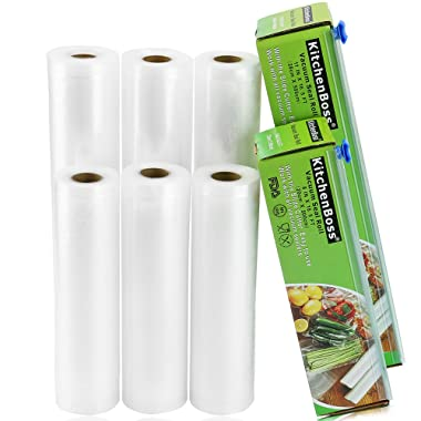 KitchenBoss Vacuum Sealer Rolls 6 Pack 8 x16.5' and 11 x16.5' with Cutter Box Commercial Grade Bag Rolls for Food Saver and Sous Vide(total 100 feet)