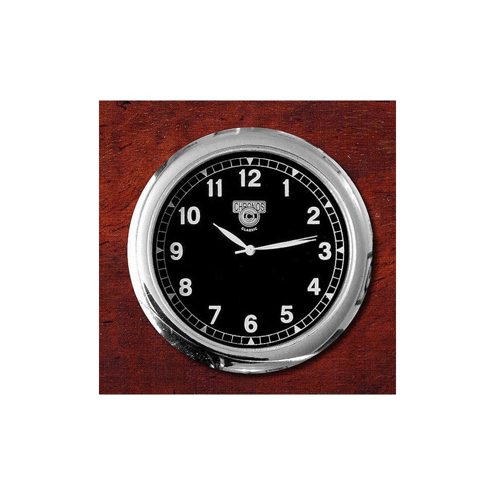 Dashboard Clock Chrome & Black - for classic cars Chronos