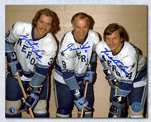 Gordie Howe, Mark Howe & Marty Howe Signed Houston Aeros WHA 8x10 Photo
