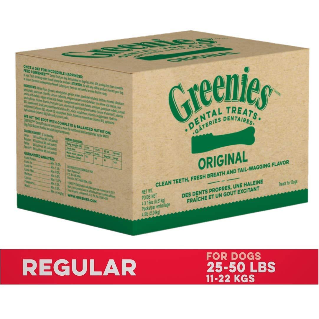 GREENIES Original Regular Natural Dog Dental Care Chews Oral Health Dog Treats, 72 oz. Pack (72 Treats) by Greenies