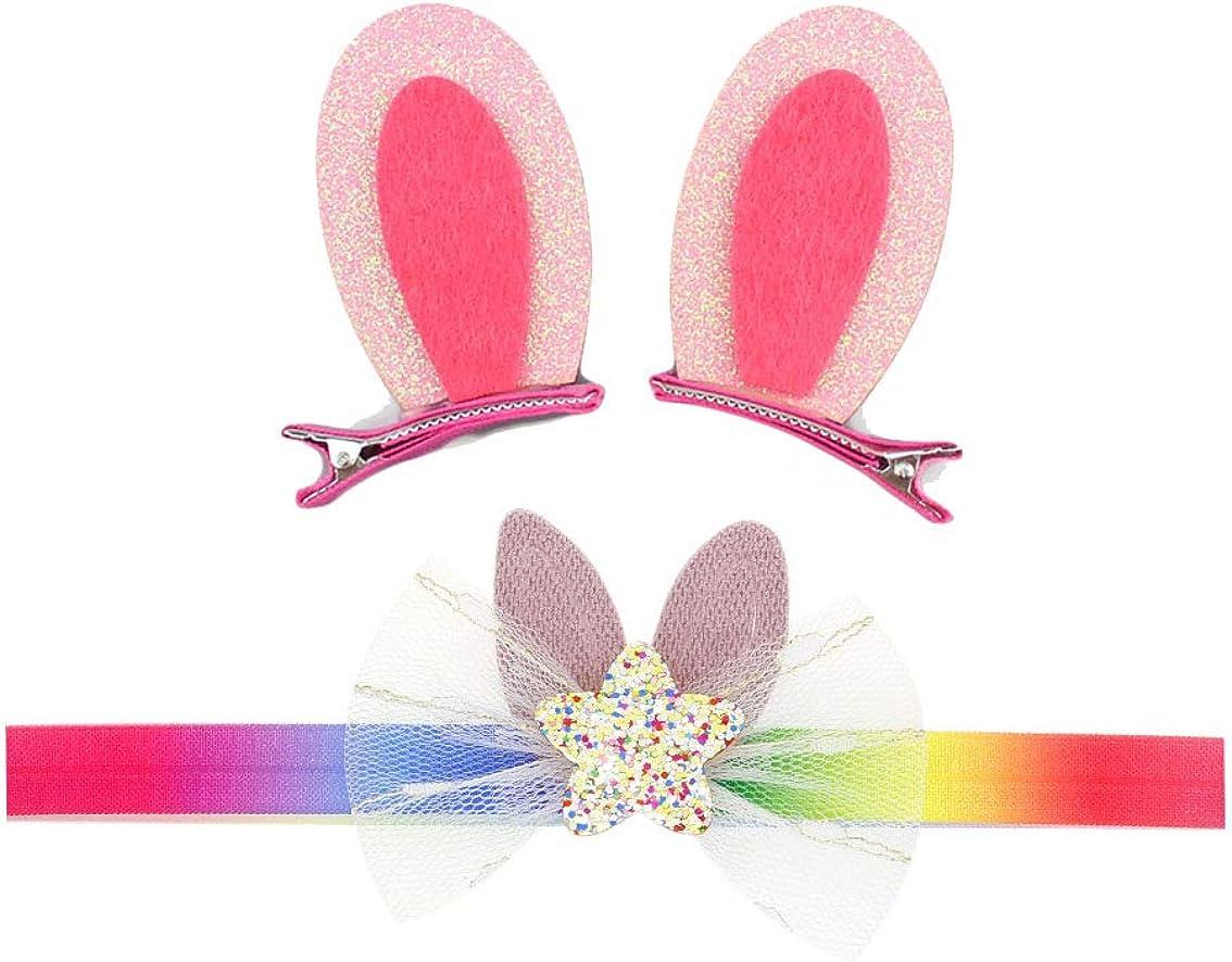 Baby Easter Bunny Headband with Flower Glitter Rabbit Ears for Easter Gift JHE06