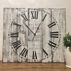 Seeka Decor 20 Square White Clock with Distressed Finish Wall Clock