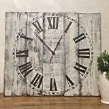 Seeka Decor 20'' Square White Clock with Distressed Finish Wall Clock