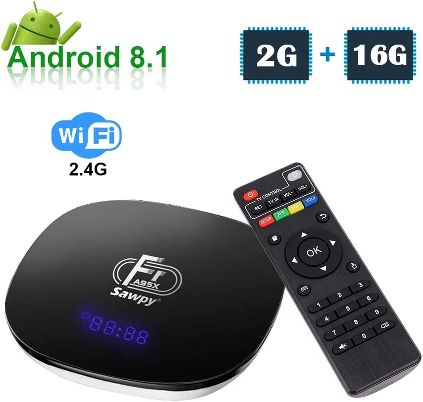 Sawpy Android 8.1 TV Box A95X F1 con CPU Amlogic S905W Chip de Quad Core 64 bits, 2GB RAM 16GB ROM, WiFi 2.4Ghz soporta a 3D, 4K , 1080P, Mini Smart TV