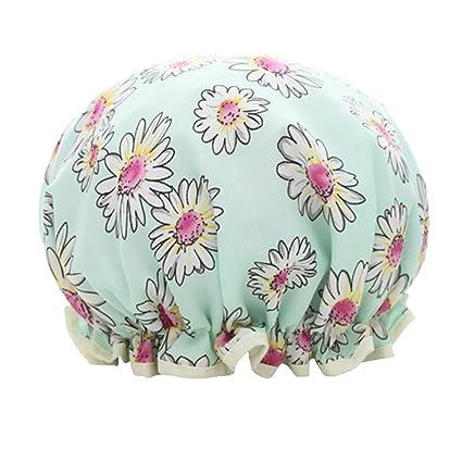 dorapocket Beautiful doble capa impermeable gorro de ducha gorra baño de  viaje para mujer Spa ducha 5fc74b2c803