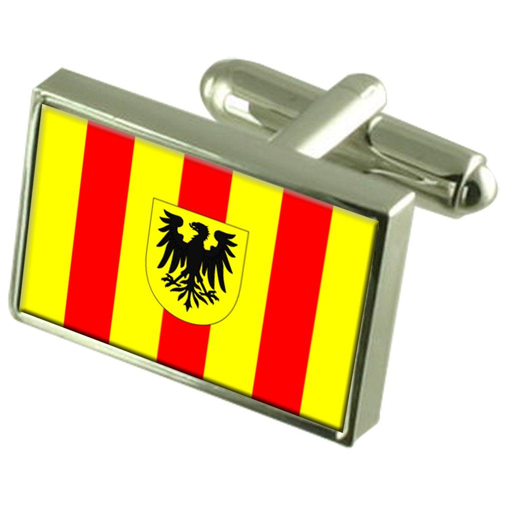 Mechelen City Belgium Flag Cufflinks Engraved Box