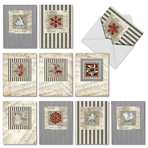 M6658XSG Christmas Canvas: 10 Assorted Christmas Note Cards Featuring Vintage and Retro Christmas Images Against Rustic Burlap and Music Sheets, w/White Envelopes.