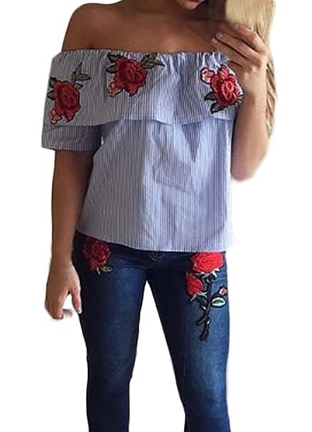 Top Mujer Shirts Tops Blusa De Carmen Blusa Verano Sencillos Especial Elegantes Flecos Manga Corta Off