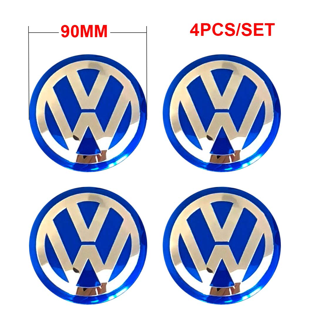 4PCS 90mm 3.54'' Auto Car Styling Accessories Emblem Badge Sticker Wheel Hub Caps Centre Cover fit for VW Volkswagen B5 B6 MK4 MK5 MK6 Golf Polo Passat SAGITAR Jetta CC MAGOTAN Scirocco Eos (Blue)