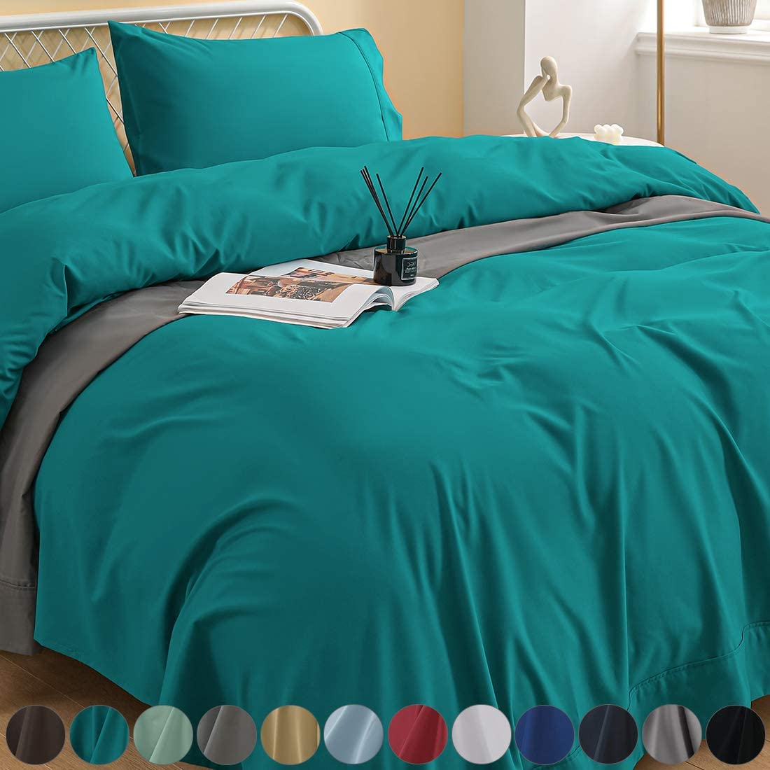 Newspin Bed Sheets Set, 1800 Series Soft Sheets Thicken Durable Double Brushed Microfiber Wrinkle Resistant Bedding Sheet fit 14-18 inch Deep Pockets Mattress(4 Piece Queen Sheet Set,Teal)