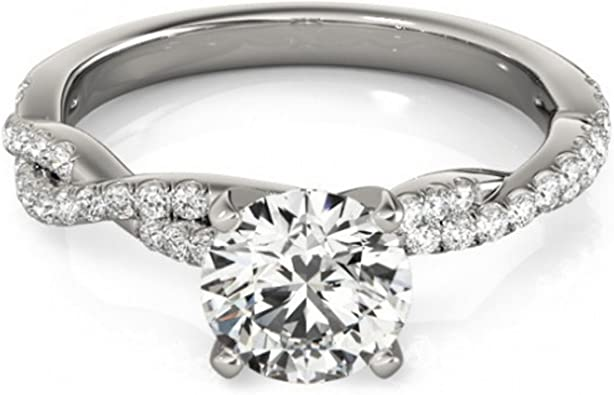 14K White Gold Over Diamond Infinity Wedding Band Twisted Engagement Ring 1.5 CT