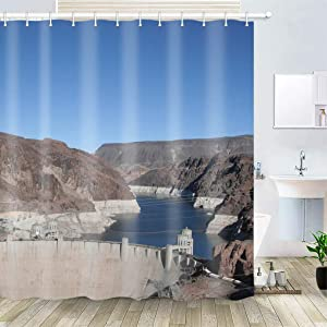 OiArt Shower Curtain, Polyester Fabric Waterproof Hooks Included-72x72 inches- Boulder Dam Las Vegas Nevada Hoover Dam Dam