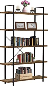 Sorbus Bookshelf 5 Tiers Open Vintage Rustic Bookcase Storage Organizer, Modern Industrial Style Book Shelf Furniture for Living Room Home or Office, Wood Look & Metal Frame (5-Tier, Retro Brown)