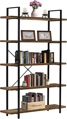 Sorbus Bookshelf 5 Tiers Open Vintage Rustic Bookcase Storage Organizer - the best modern bookcase for the money