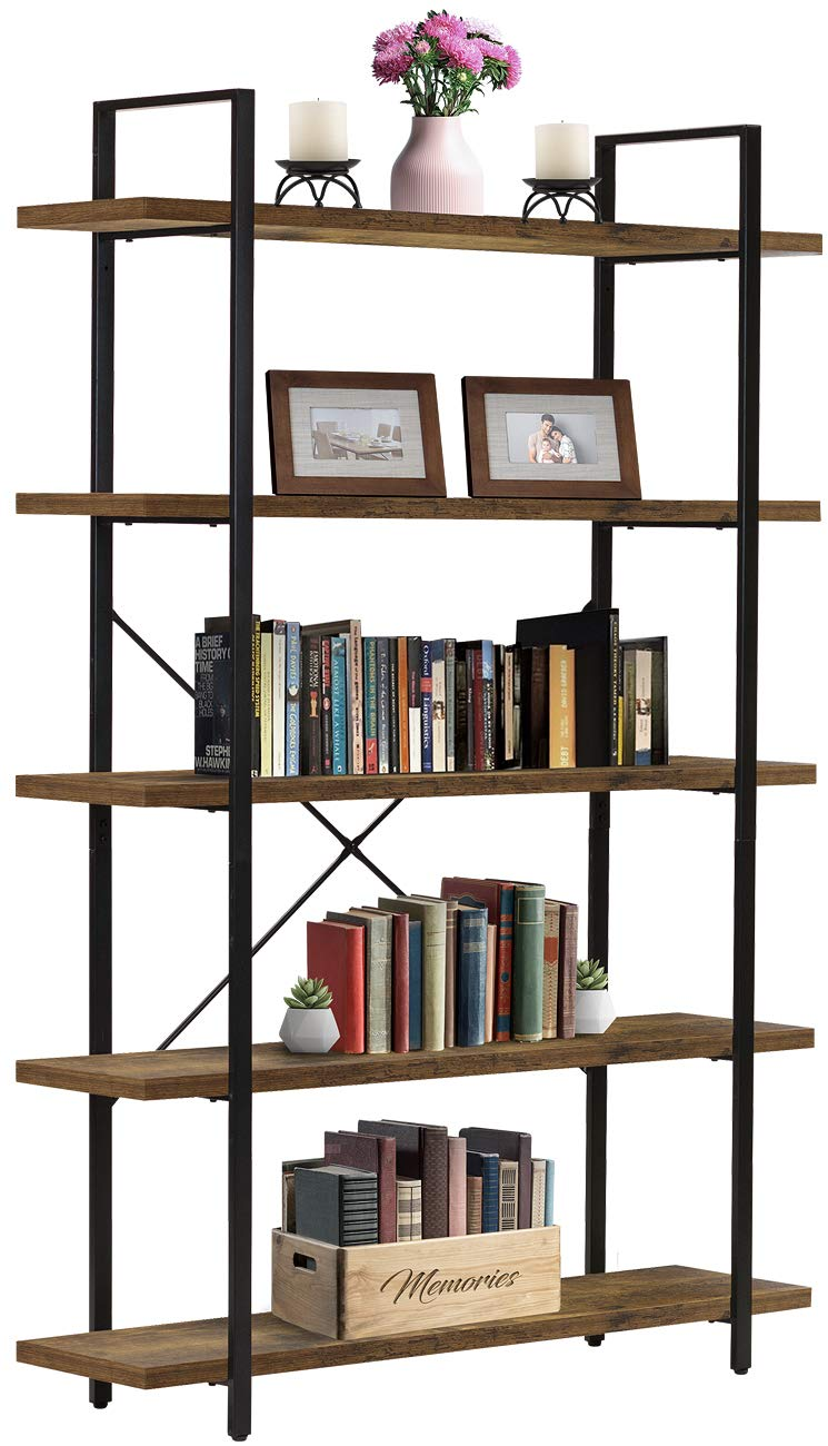 Sorbus Bookshelf 5 Tiers Open Vintage Rustic Bookcase Storage Organizer, Modern Industrial Style Book Shelf Furniture for Living Room Home or Office, Wood Look Metal Frame 5-Tier, Retro Brown