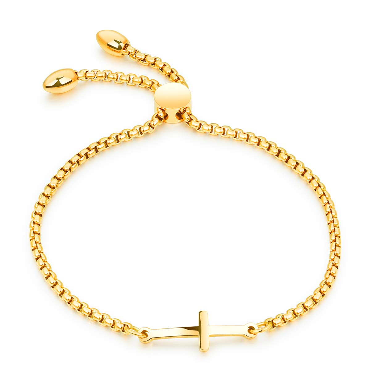 CHARMFAME Korean Style Adjustable Gold Plated Stainless Steel Cross Bracelet Fashion Jewelry for Women /& Girls