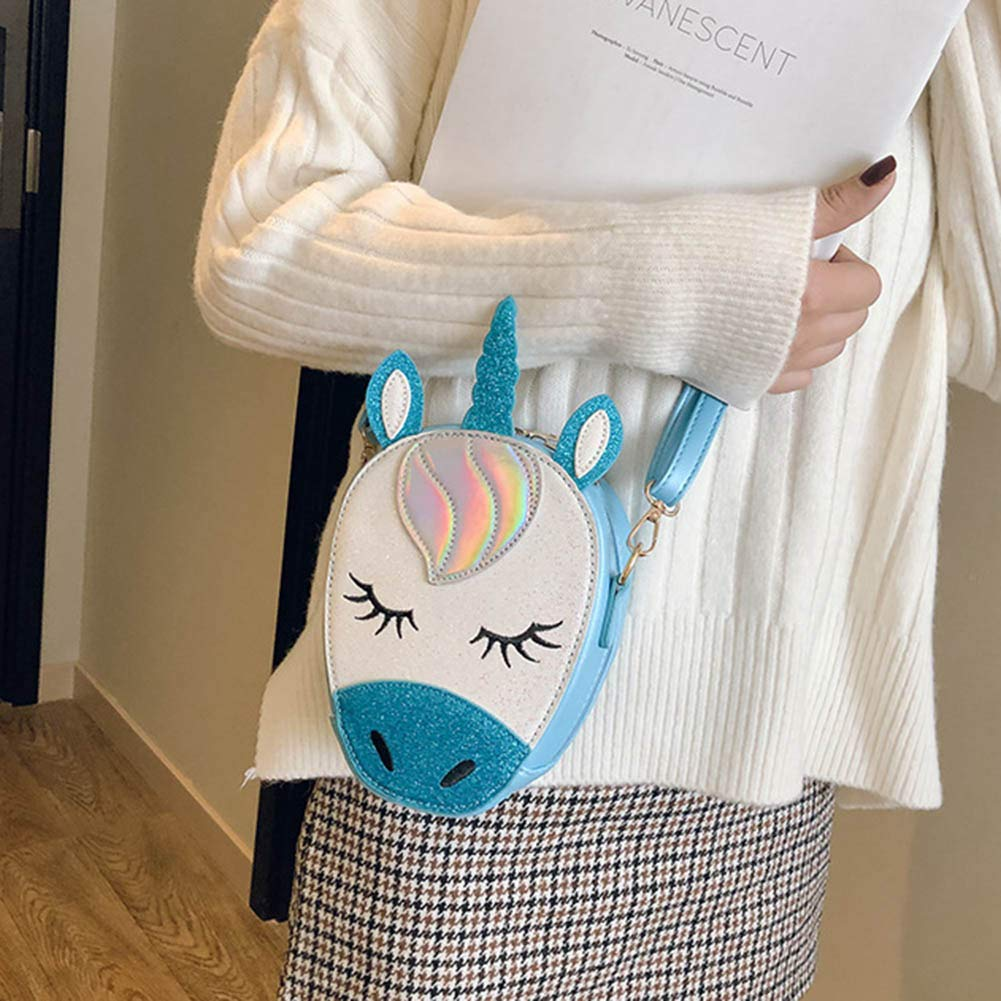 jikaifaquyanhel 4 Pack Glitter Unicorn Crossbody Purse Bag Cute Unicorn PU Handbag Novelty Shoulder with Zipper Closure for Girls Teens Women