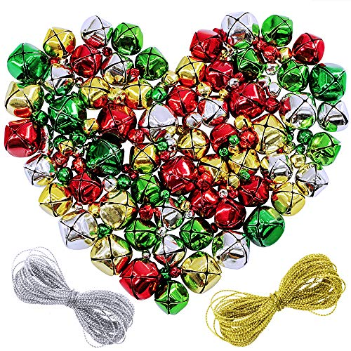 Supla 160 Pcs 4 Colors 4 Sizes Craft Bells Jingle Bells Christmas Bells Holiday Season Santas Sleigh Bell and 2 Rolls Gold Silver Twine Strings for Crafts Party Decorations and Jewelry Making