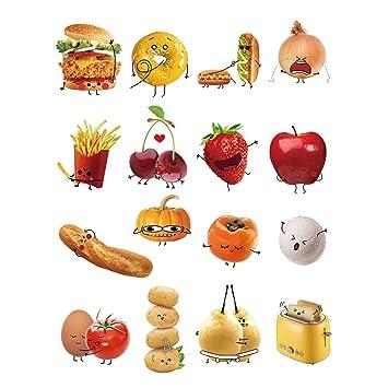 decalmile Wandtattoo Küche Kreativ Gemüse Emoji-Emoticons Wandsticker DIY  Entfernbarer Wandaufkleber Wanddekoration für Küche Babyzimmer Schlafzimmer  ...