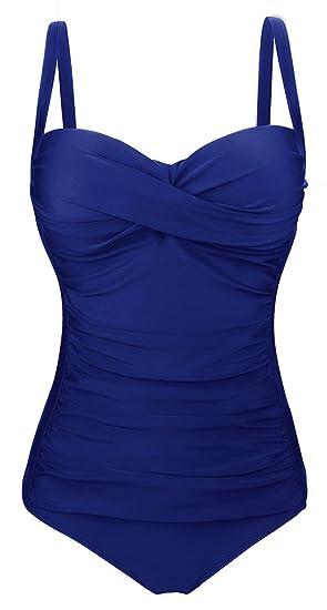 Fawnkiss Maillot De Bain Femme 1 Pieces Sexy Push Up Ruché Effet Ventre  Plat Maillot Une Piece Monokini (Foncé Bleu,Small)  Amazon.fr  Vêtements et  ... 4115a76716f1