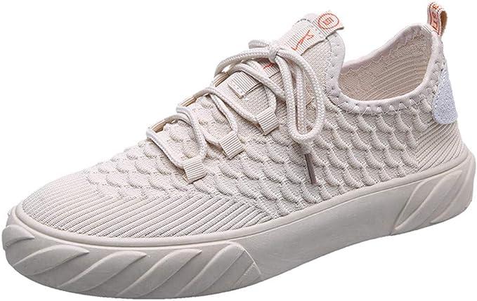 LANSKIRT Hombre Zapatillas Running Blanco Zapatos Casuales ...