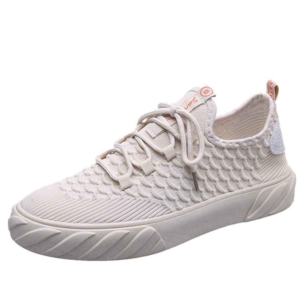 Dermanony Men's Canvas Sneakers Fashion Solid Color Mesh Breathable Casual Shoes Flying Woven Fish Scale Sneakers Beige by Dermanony _Shoes