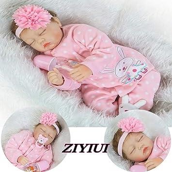 ZIYIUI 22 Pulgadas 55cm Reborn Bebé Muñecas Suave Vinilo de Silicona Renacer Lifelike Recién Nacido Magnética Boca Niño Niña Regalo Juguete ...