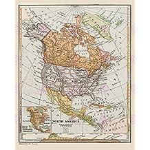 MAP REPRO ANTIQUE CANADA PUBLICATIONS NORTH AMERICA LARGE ART PRINT LF885