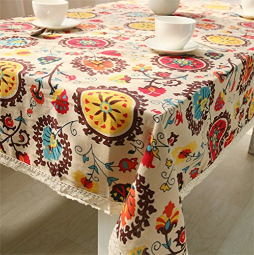 chengsan Vintage Square Cotton Linen Lace Sun Flower Tablecloth, Washable Tablecloth Dinner Picnic Table Cloth Home Decoration Assorted Size (55 X 55 Inch (140140CM), Sunflower)]()