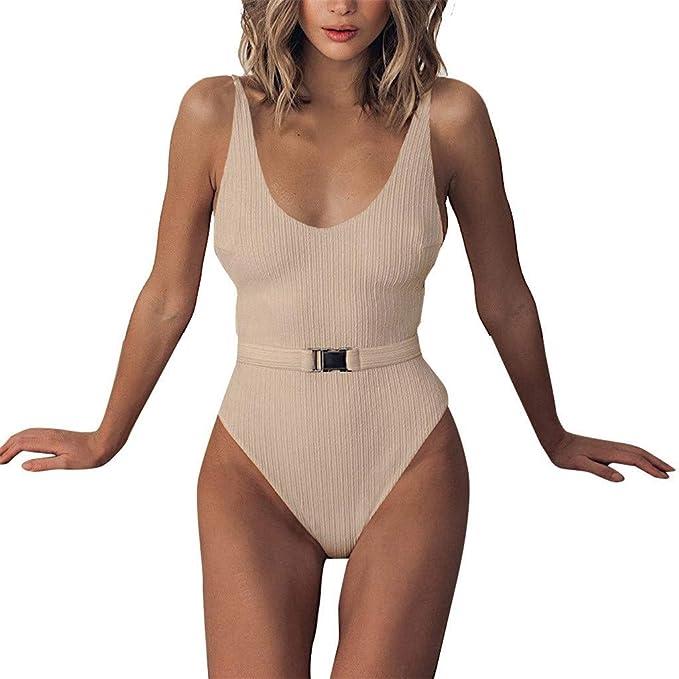 Bikini Mujeres de Una Pieza Traje de BañO Color Puro Push-Up Acolchado Swimsuit Sujetador Playa: Amazon.es: Ropa y accesorios