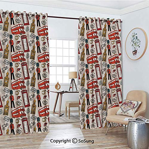 Blackout Window Curtains,Doodle English Icons Crown for sale  Delivered anywhere in Canada