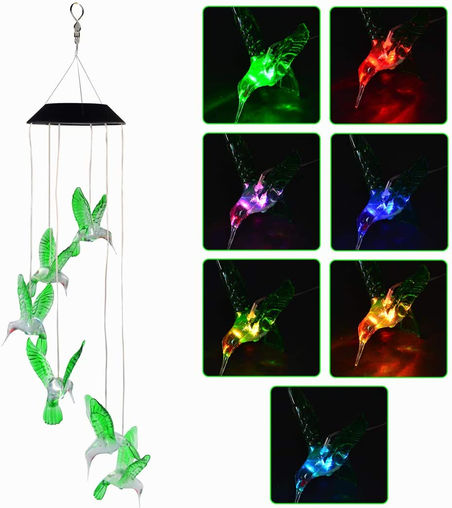 SUMERSHA Hummingbird Wind Chime, Color Changing LED Solar Mobile Bird Wind Chimes Hanging Outdoor Solar Lights for Home Party Yard Garden Night Decoration