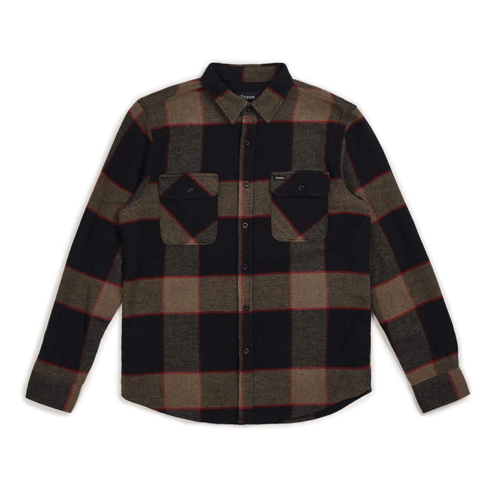 Brixton Bowery Flannel Long Sleeve Shirt Heather Grau Charcoal