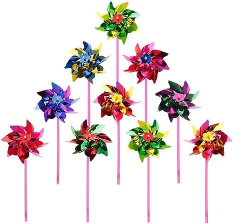 10 molinillos de viento de plástico de juguete para niños o como decoración para jardín o para fiestas: Amazon.es: Jardín