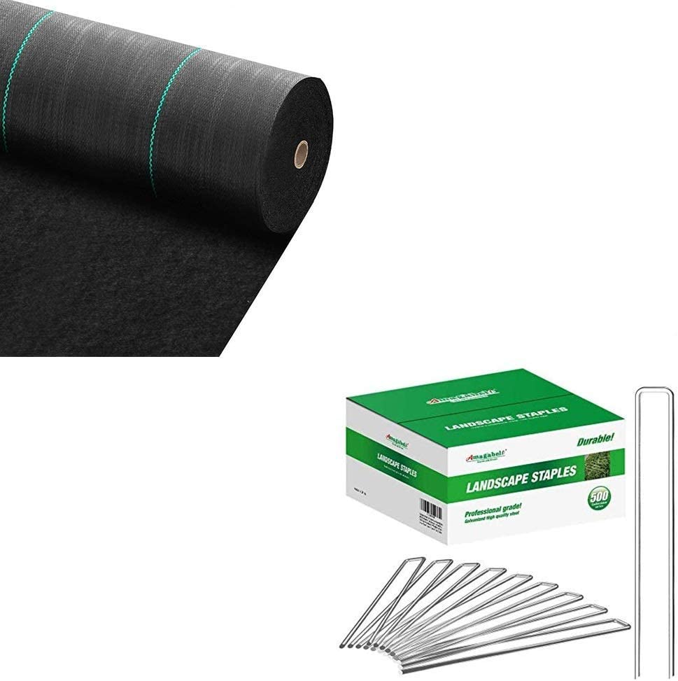 Amagabeli 3ft x 100ft Weed Barrier Landscape Fabric 5.8oz Heavy Duty Ground Cover Weed Cloth and Amagabeli 8 Inch Galvanized Landscape Staples 500 Pack Garden Stakes Bundle