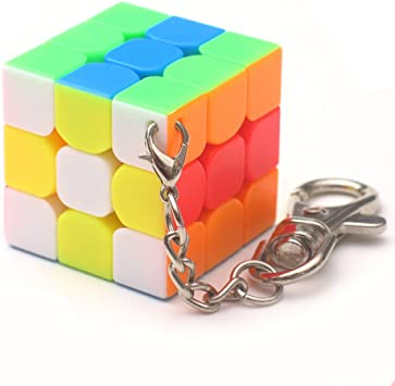 Meiyiu 3 cm Mini Peque/ño 3x3 Cubo M/ágico Llavero Elegante Cubo de Juguete y Llavero Creativo Decoraci/ón